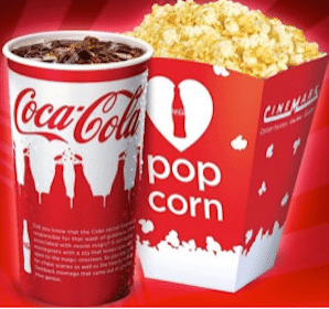 Small Popcorn with Purchase of Large Fountain or Frozen Drink at Cinemark