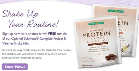 Win a Nature's Bounty Optimal Solutions Sample Packet (50,000 Winners!)