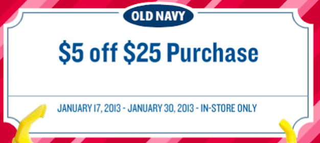 Old Navy Coupon: Save $5 Off $25 In-Store Purchase