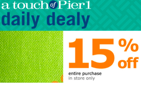 Pier 1 Imports Coupon: 15% off Entire Purchase