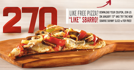FREE Skinny Slice of Pizza at Sbarro on 1/15 (Print Coupon Now!)