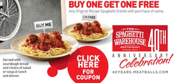 BOGO Spaghetti at Spaghetti Warehouse on 1/4 Only
