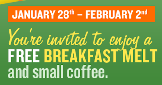FREE Breakfast at Subway 1/28-2/2 (Select Locations)