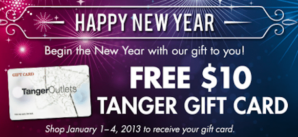 $10 Tanger Outlets Gift Card (Valid 1/1-1/4)