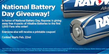 4-Pack of Rayovac Alkaline Batteries on 2/22 (First 1,0000)