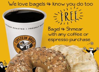 FREE Bagel & Shmear at Einstein Bros. Bagels w/ Coffee Purchase