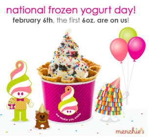 6oz Yogurt + Toppings on February 6th at Menchie's Frozen Yogurt