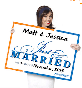 Just Married Sign from Progressive