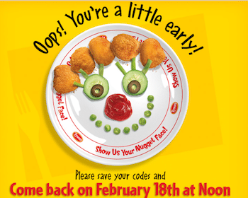 Nugget Face Plate from Tyson (Enter 3 Codes from Specially Marked Products)