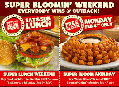 Outback Steakhouse Offers: BOGO Lunch Entrée + FREE Bloomin' Onion on 2/4