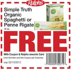 FREE Simple Truth Organic Pasta at Ralphs (With Coupon and Rewards Card)