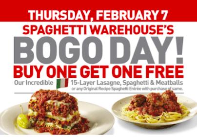 BOGO Spaghetti & Meatballs or Lasagne at Spaghetti Warehouse (2/7 Only)