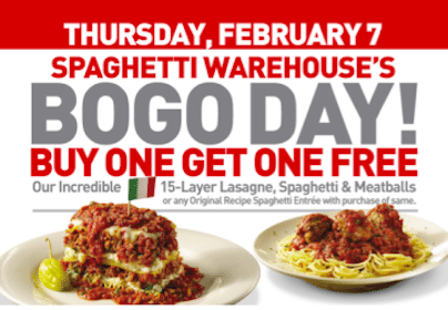 BOGO Spaghetti & Meatballs or Lasagne at Spaghetti Warehouse (2/7 Only)