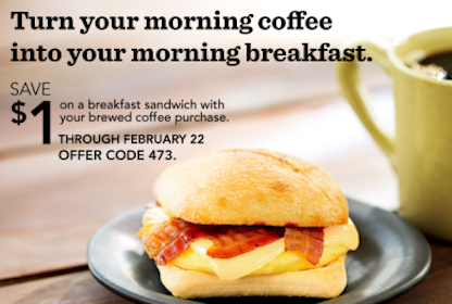 Save $1 On a Breakfast Sandwich w/Brewed Coffee Purchase at Starbucks