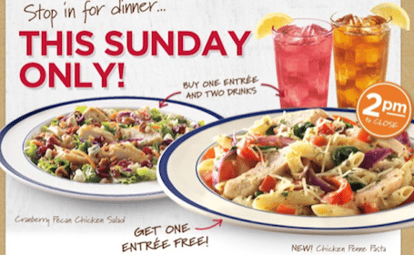 Entree with Purchase of an Entree & 2 Drinks on Sunday, 3/24
