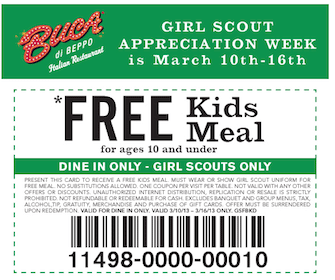 Girl Scouts Eat FREE at Buca di Beppo This Week