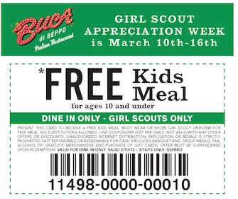 Girl Scouts Eat FREE at Buca di Beppo This Week