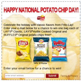 Win 3 FREE Bags of Lay's Potato Chips