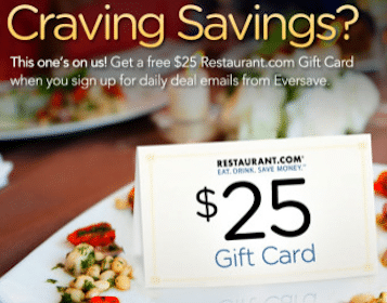 $25 Restaurant.com Gift Card When You Sign Up For Daily Deal Emails from Eversave