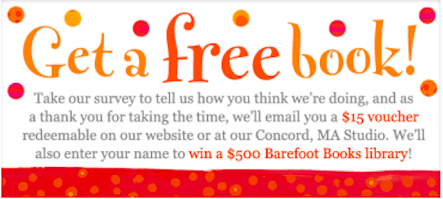 Take Survey for Barefoot Books & Get a $15 Voucher = Free Books (Can Apply Towards Shipping!)