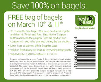 6 Bagels at Fresh & Easy Stores (Coupon)