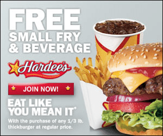 Hardees Coupon: FREE Small Fry & Small Drink with Purchase of a Thickburger