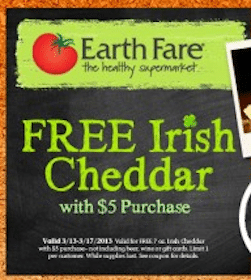 FREE Irish Cheddar at Earth Fare (Coupon)