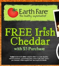 FREE Irish Cheddar at Earth Fare (Coupon)