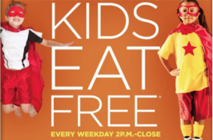 Kids Eat FREE after 2 p.m. at Bob Evans every Weekday in March