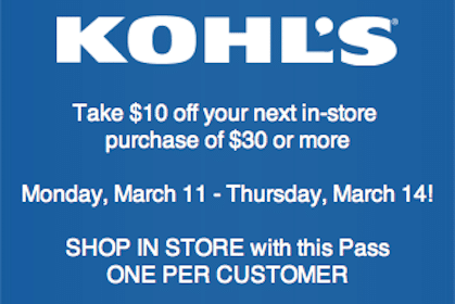 Kohl's Coupon: Save $10 Off $30 Purchase