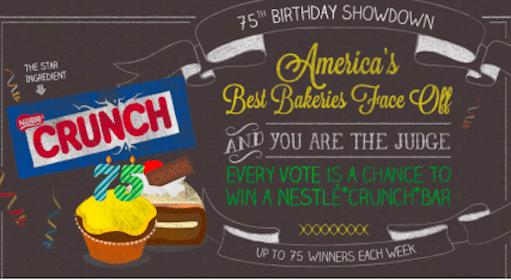 Win a FREE Nestle Crunch Bar (75 Winners per Week!)