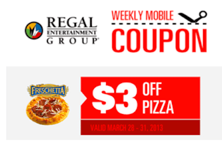 Regal Cinemas Coupon: Save $3 Off Pizza