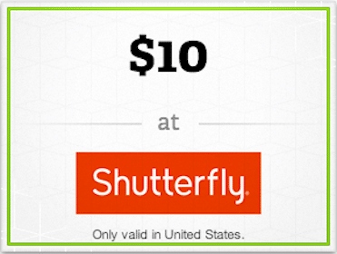 $10 Shutterfly Gift Card from the Wrapp App