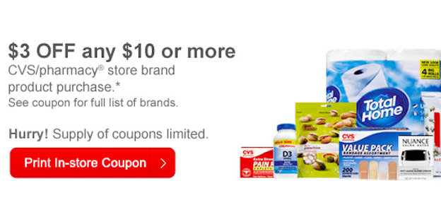 CVS Coupon: Save $3 Off $10 CVS Store Brand Product Purchase