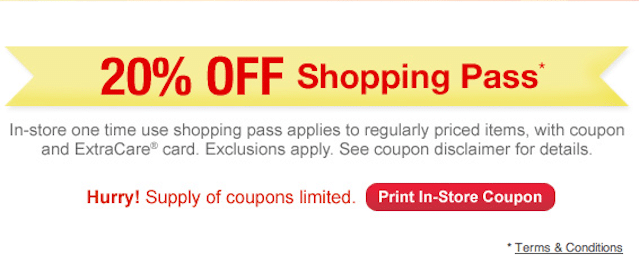 CVS Coupon: 20% Off Entire Purchase of Regularly-Priced Items