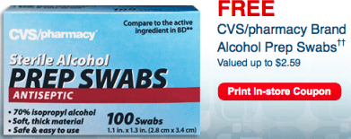 CVS/Pharmacy Brand Alcohol Prep Swabs (In-Store Coupon)