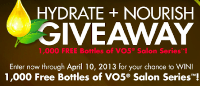 First 200 Daily Win a FREE VO5 Product Coupon – Noon EST Thru 4/10