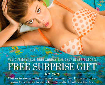 $5 Gift Card, Undie, or Bra at Aerie Stores 4/26-4/28