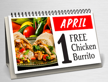 Chicken Burrito at Bullritos from 5-8 pm EST TODAY (4/1)
