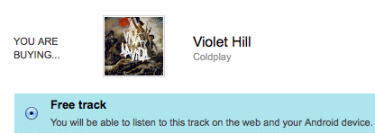 """Violet Hill"" MP3 Download by Coldplay (Reg. $1.29)"