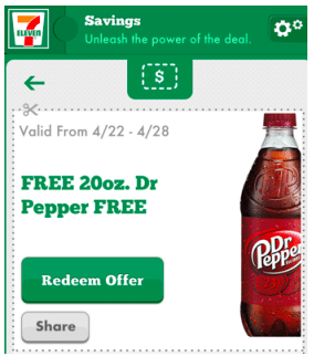 FREE 20 oz. Dr. Pepper + More for 7-Eleven Mobile App Users