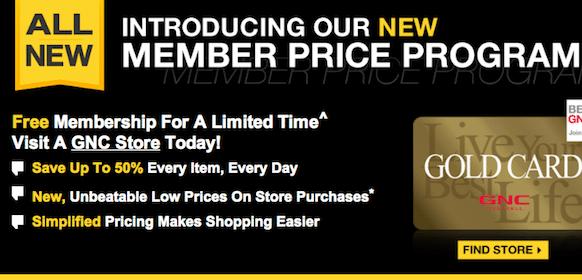 Membership at GNC stores