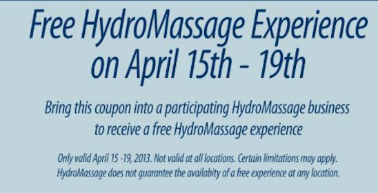 HydroMassage April 15-19