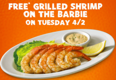 Grilled Shrimp with ANY Purchase at Outback (Today Only!)