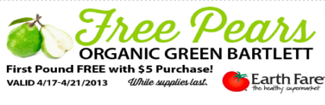 Earth Fare Coupon: FREE Pound of Organic Pears with $5 purchase