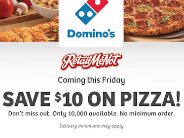 *HOT* $10 Off ANY Domino's Pizza Order (First 10,000 on April 5th)
