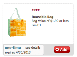 Reusable Bag eCoupon from Safeway (Just for U Members)