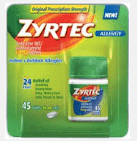 Zyrtec 5 Ct. Product