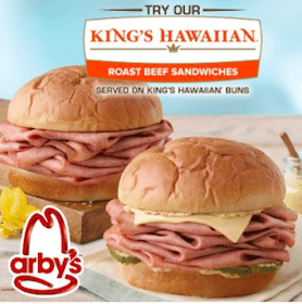 Small Drink & Fries with Purchase of a King's Hawaiian Roast Beef Sandwich at Arbys