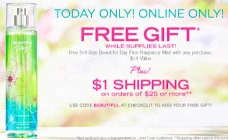 BathandBodyWorks.com Coupon Code: FREE Full-Size Fragrance Mist + $1 Shipping on $25+ Orders